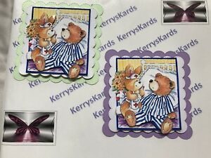 2 x Decoupage Pictures of Get Well Bear Theme Toppers