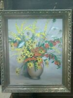 Beautiful Mid-Century Signed Root Floral Painting- 1960 Framed