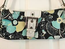 Nine West Shoulder Bag Turquoise Green Tropical Flowers Buckle Small Short Strap