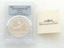 2009 FRANCIA Concorde 40th ANNIV 10 dieci euro argento Proof moneta PCGS PR69 DCAM