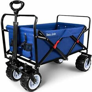Folding Wagon Garden Cart Foldable Push Trolleys Collapsible Utility