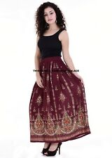 Ladies Maroon Indian Hippie Party Long Sequin Peasant Beach Skirt Belly Dance