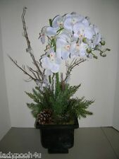 "NEW 30"" Frosted White Faux ORCHID w/Pine in Pot by Valerie Holiday Shipping FREE"