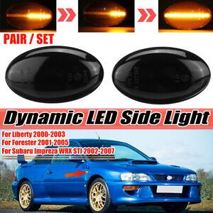 2 Pcs Dynamic LED Side Marker Signal Light For Subaru Impreza Forester 2002-2007