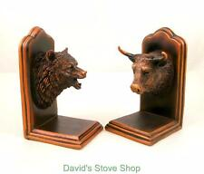 New Bull and Bear Head Bookends Bronze Plated Resin Sculpture Gift MH