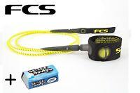 FCS 6' Acid Freedom Surfboard Leash + Wax
