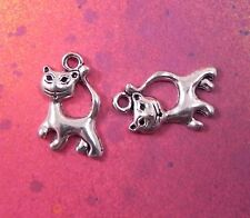 10 Cat Charms Kitty Kitten Pussy Cats Silver Charm Pendant for Jewelry Making