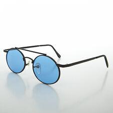 Ozzy Osbourn Steampunk Oval Vintage Glasses with Blue Lenses (Black) - HENDRIX