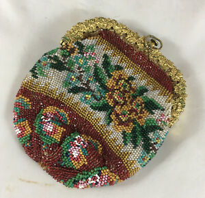Georgian Gilt Metal / Pinchbeck Beaded Coin Purse DCZX