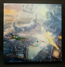 "Thomas Kinkade Tinkerbell and Peter Pan Fly To Neverland 14"" x 14"" Canvas Wrap"