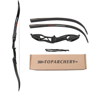 50lb Archery Hunting Takedown Recurve Bow with Stringer Right Hand Black Longbow