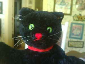 Antique Vintage black mohair Steiff Tom Cat Puppet Teddy Bear Friend 8in EUC