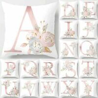 Letter Pink Floral Printing Pillow Case Throw Cushion Cover Sofa Home Decor sm