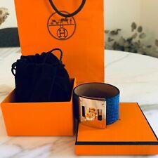 RARE Brand New Authentic HERMES Kelly Dog Lizard bracelet Blue Sapphire GHW Gold