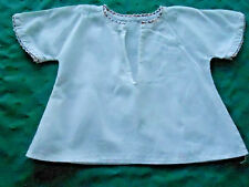 ANTIQUE  HANDMADE BABY BLOUSE WITH WHITE AND RED RICKRACK TRIM, CIRCA 1920