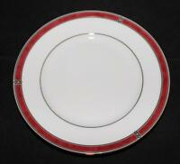 Christofle Porcelain China OCEANA ROUGE Red 7621 Bread Plate 6 1/4""