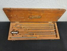 Vintage Starrett 124 B Inside Micrometer Set 2 To 11 In Original Wooden Box