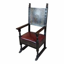 Spanish Renaissance Carved & Embossed Leather Side Chair