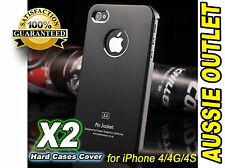2 x Air Jacket Black Hard Case Cover For iPhone 4 4G 4S - Stock in Australia