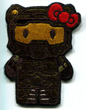 HELLO KITTY AS HALO MASTER CHIEF MILITARY EMBROIDERED IRON ON PATCH FREE SHIP