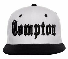 White Black Compton Vintage Embroidered Hip Hop Flat Bill Snapback Snap Cap Hat