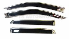 BLACK+CHROME 4 DOOR VISOR WEATHER GUARDS FOR ISUZU D-MAX DMAX 2012-2015 PICK UP