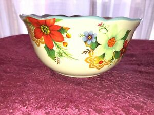 "Pioneer Woman Round Ruffled Flowered Bowl 8"" Wide Stoneware"
