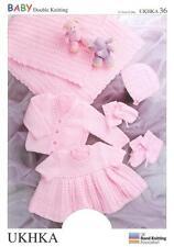 Double Knitting Pattern Shawl/Cardi Dress Hat Mitts Bootees Prem-12Mths 31-51 cm