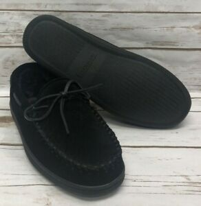 Minnetonka Men's Pile Lined Hardsole Slipper - Black