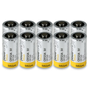 10x CR123A Power One by VARTA, CR 17345, 3 Volt 1450 mAh Lithium, MH 13654