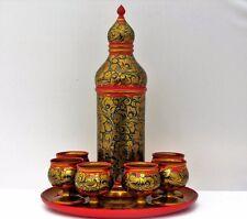 Plateau + 6 verre + carafe KHOKHLOMA peint main laqué vernis alimentaire Russie