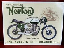 NORTON MANX 30M Motorcycle Roadholder vintage metal Sign ©1996 Desperate Ent.