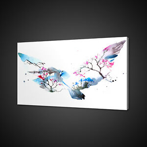 PIGEON BIRD ABSTRACT WATERCOLOUR PAINT STYLE CANVAS PRINT WALL ART PICTURE PHOTO
