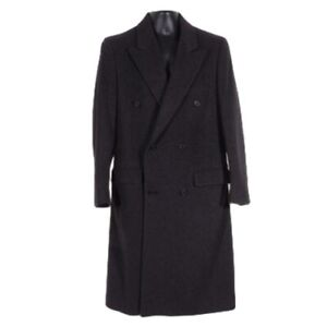 Pierre Cardin Mens Overcoat Small Double Breasted Charcoal Gray Wool Vtg Lined