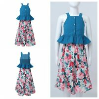 Kid Girl 2Pcs Dress Shoulder Straps Top Flower Skirts Casual Party Summer Outfit