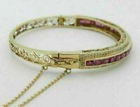 "Antique 18K Yellow Gold Over 2.61Cttw Ruby & Round Diamond Bangle 7.5"" Bracelet"