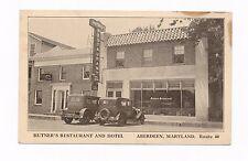 Maryland MD Aberdeen (Harford Co) Old Cars, Hutner's Restaurant, hotel, street