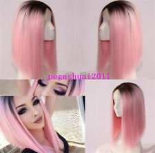 ombre black pink color short BoB heat resistant hair wig synthetic lace front