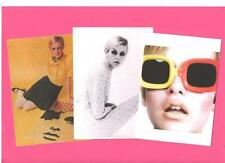 3 TWIGGY A4 CARD PRINTS.  Mod, Biba, Mary Quant, Pop art, 60's fashion.