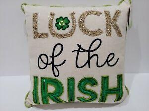 "St Patrick's Day BEADED Shamrock Green Gold Throw Pillow 12""x12"""