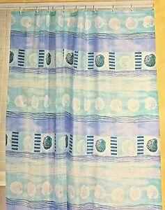 Nautical Theme Fabric Shower Curtain Beach Coastal Seashell Ocean Green Blue