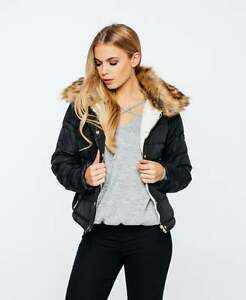 New Women Fur Hooded Ladies Quilted Puffa Jacket Bubble Bomber Coat Size 8-14