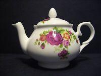 Cottage rose 2 Cup English Fine Bone China Tea Pot (Green Rim) By Milton China