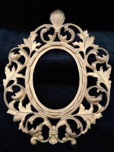 Vintage Art Nouveau Gilded Cast Iron Oval Picture Frame Only