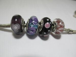 4 Pandora Silver 925 Ale Purple Glass Bead Lavender bubble Flower Blue Python