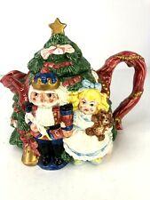 Vintage Fitz and Floyd Tea Pot Nut Cracker Tree Christmas with Lid 1992