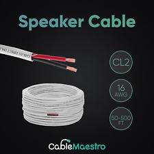 16AWG Audio Speaker Cable CL2 Wire 16/2 50ft 100ft 250ft 500ft White For In Wall