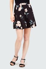 Select Black Floral Crepe Skater Skirt Size 16 BNWT