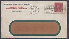 US 1928 ADVERTISING COVER STROMBERG MOTOR CO CHICAGO IL FRANKED 2¢ COIL MOTORIZE