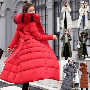 Women's Winter Parka Coat Long Down Cotton Warm Fur Collar Hooded Jacket Outwear